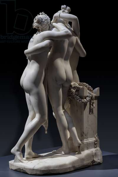 The three Graces, detail of the rear part, 1812-17 (marble)