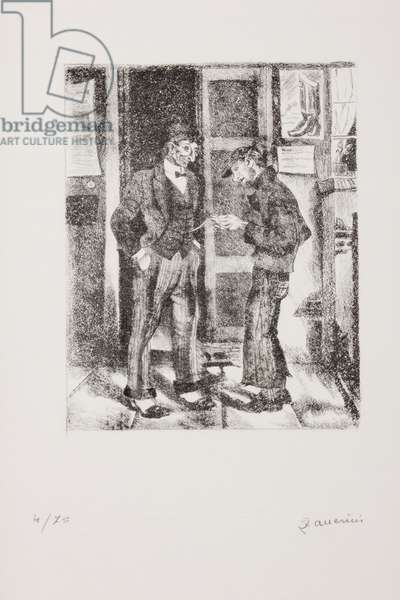 Boy looking at a gentleman's pocket watch (lithograph)