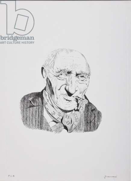 Portrait of an Old Man smoking a Cigar (lithograph)