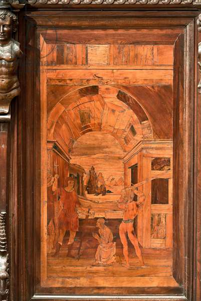 """Genoa, Duomo (St Lawrence Cathedral), inside, apse, choir, North side: """"The Beheading of the Baptist"""", wood intarsia by Giovanni Francesco Zambelli (XVI century)"""