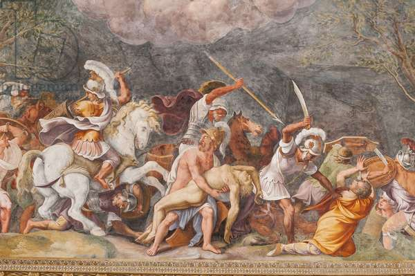 Ajax protecting Patroclus's corpse during the battle of Troy, The Trojan Horse, Chamber of Troy (Sala di Troia), 1538 - 1539