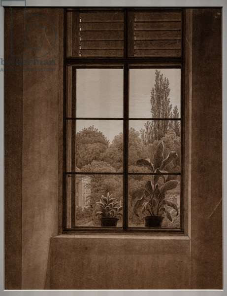 Window with a view of a park, 1836-37 (graphite and sepia on paper)