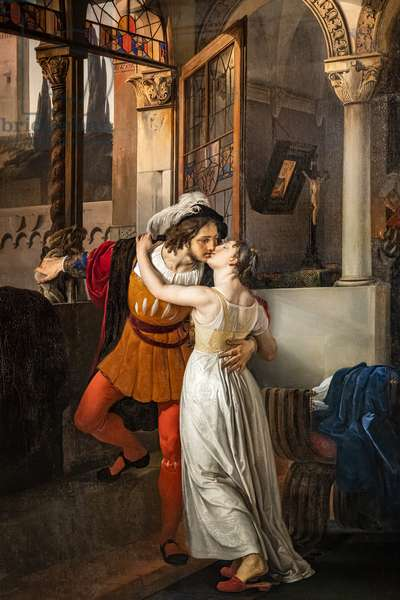 Romeo's last kiss to Juliet, 1858 (oil on canvas)