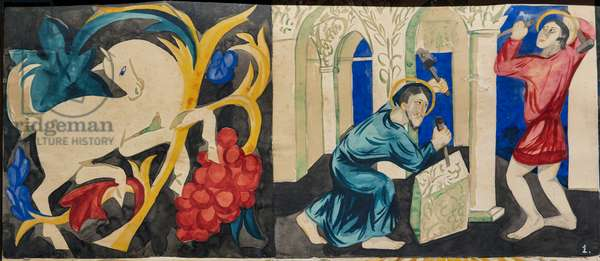 The Lives of Saints Florus and Laurus, detail with a horse and a saint, 1912-13 (gouache on paper)