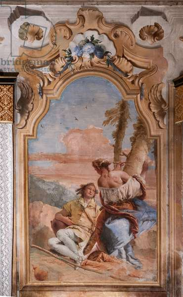 """Palazzina (Small Building): second room or room of Ariosto with frescoes representing episodes from """"Orlando Furioso"""": """"Angelica and Medoro engrave their names on the bark of the plants"""", 1756-57 (fresco)"""