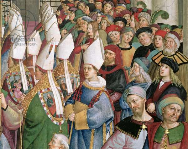 The Cardinals Processing through the Crowd of Secular Onlookers, detail from 'Aeneas Sylvius Piccolomini (1405-64), elected Pope with the name Pius II, enters St. Peter's,' 3rd September 1458, 1503-08 (fresco)