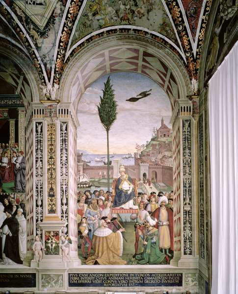 Pope Pius II (1405-64), at Ancona, Blesses the Fleet about to Leave for the Holy Land on 15th August 1464, 1503-08 (fresco)