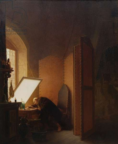 Rembrandt etching a plate in his atelier, 1861 (oil on panel)