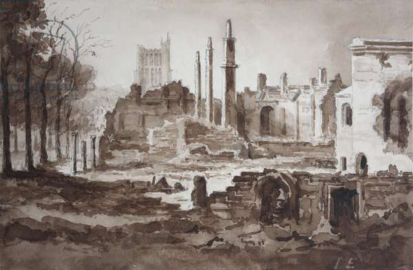 The Ruins of the Customs House, Bristol, 1831 (w/c on paper)