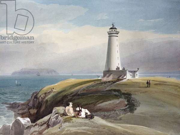 The Lighthouse on Flat Holm, in the Bristol Channel, c.1825 (w/c on paper)
