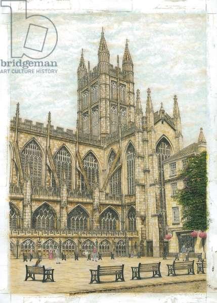 Bath Abbey, 2003 (w/c, acrylic & graphite on board)