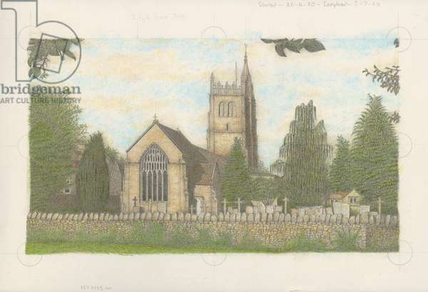 St Mary's Church in Bitton Village,  Bristol, UK, 2020 (body colour and graphite on board)