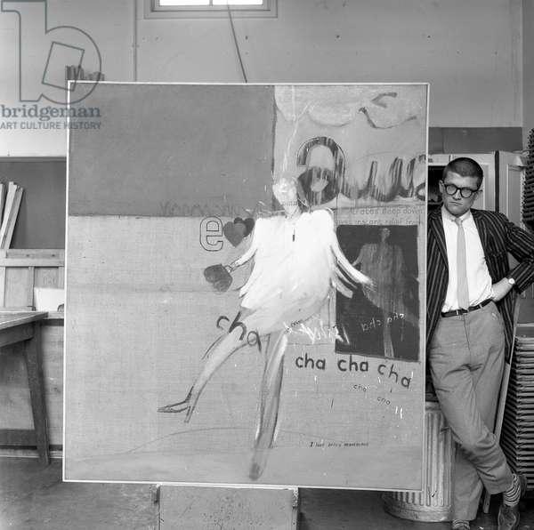 David Hockney with 'Cha Cha Cha', c.1960-61 (b/w photo)