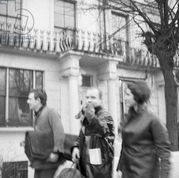 Eric Gibson, Peter Blake and Natalie Gibson, Saturday afternoon, Winter, in and around Sutherland Place, Notting Hill, c.1960-61 (b/w photo)