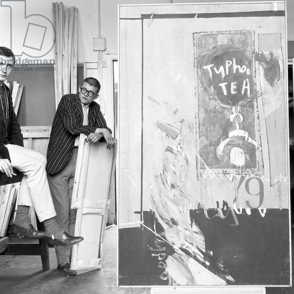 Peter Crutch and David Hockney wit the 'Typhoo Painting', c.1960-61 (b/w photo)
