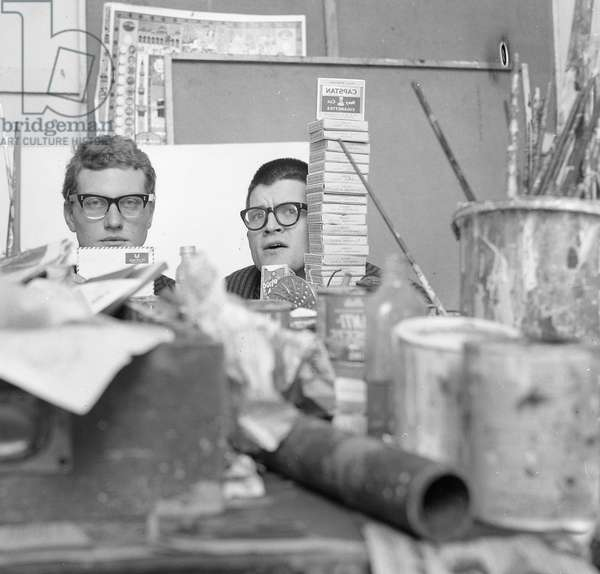 David Hockney's work table at the RCA: showing Derek Boshier 'source materials', 1962 (b/w photo)