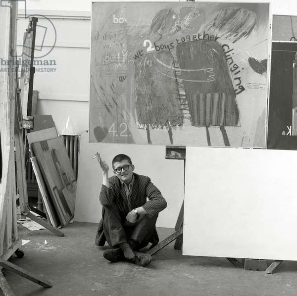 David Hockney, Royal College of Art, c.1961-62 (b/w photo)