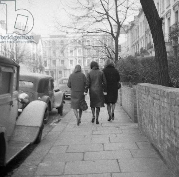 Saturday afternoon, Winter, in and around Sutherland Place, Notting Hill, c.1960-61 (b/w photo)