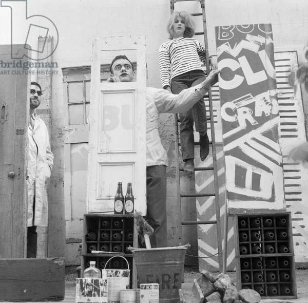 Pauline Boty and three men in a 'Quasi Revue Set', c.1960 (b/w photo)