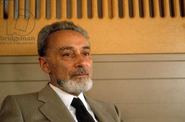 Portrait of LEVI PRIMO (1919-1987) in 1982.