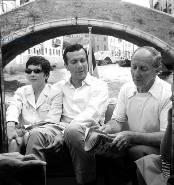 The Dancer and Singer Zizi Jeanmaire With Her Husband The Choreographer And Dancer Roland Pete And The Producer Simon Shiffrin In VENICE 1960