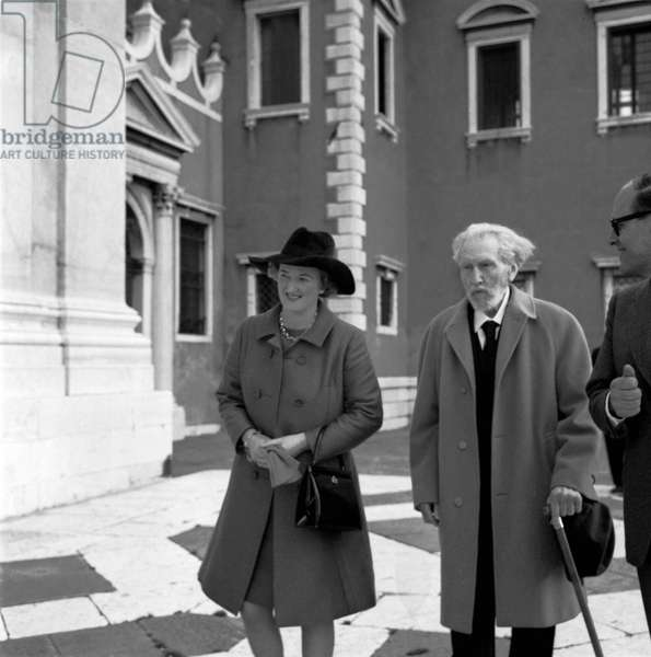American poet and writer EZRA POUND with T.S. widow Eliot Valerie in Venice 1969