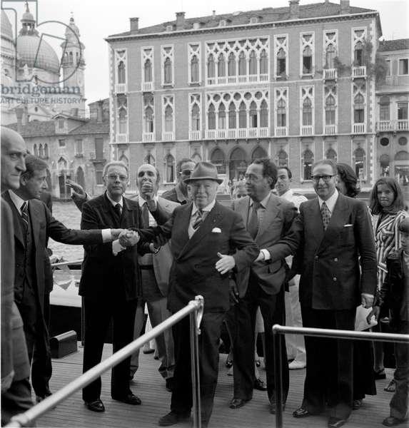 THE ACTOR CHARLIE CHAPLIN WITH GIAN LUIGI RONDI IN VENICE - XXXIII INTERNATIONAL FILM FESTIVAL - 1972