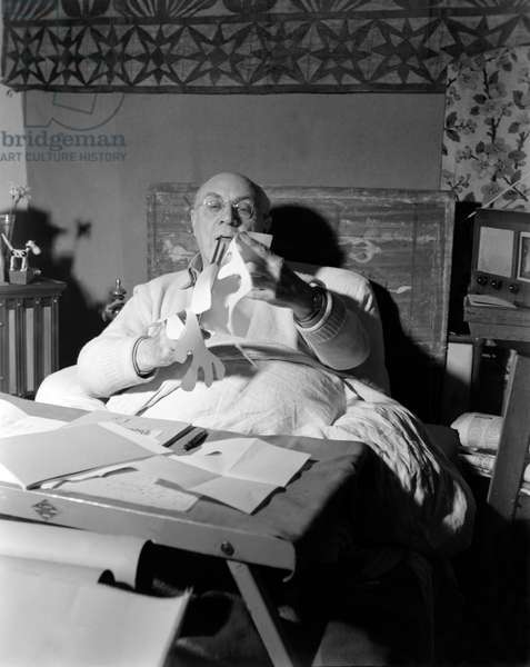 Henri Matisse at home in Vence, 1948 (b/w photo)
