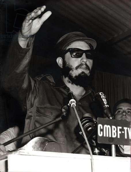 CUBA, HAVANA (Havana) 15 FEBRUARY 1959, THE PRESIDENT OF REPUBLIC OF CUBA, FIDEL CASTRO RUZ MAKES A SPEECH TO BOYCOTT THE SH