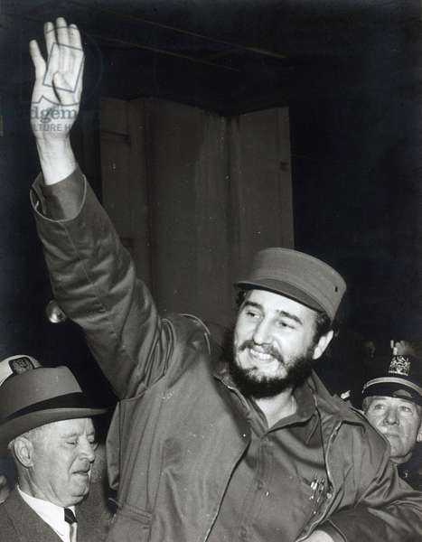 Fidel Castro, President of the Republic of Cuba, in New York, New York, for his address to the United Nations Assembly (UN, U.N.) on 26 September 1960. (USA, NEW YORK 26 SEPTEMBER 1960, THE PRESIDENT OF REPUBLIC OF CUBA, FIDEL CASTRO RUZ IN AMERICA FOR HIS SPEECH AT THE UN GENERAL ASSEMBLY)