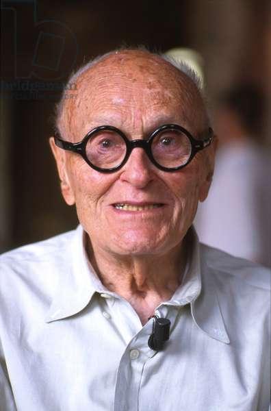 Portrait of architect Philip Cortelyou Johnson in Venice in 1999