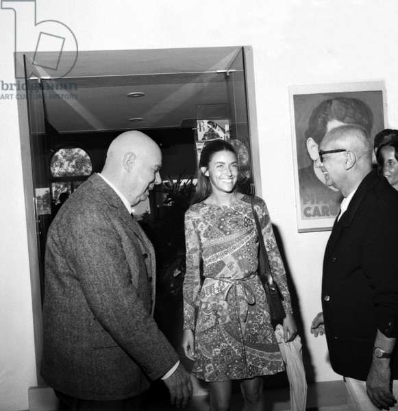 French director JEAN RENOIR, with actress VALERIA CIANGOTTTTINI and the director of the LUIGI CHIARINI film in Venice in 1968