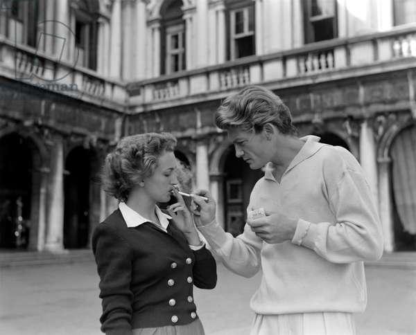 THE ACTOR JEAN MARAIS WITH DORA PIAZZA IN VENICE - 1952
