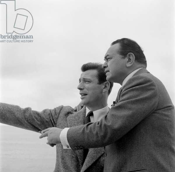 THE ACTOR EDWARD G. ROBINSON AND THE ACTOR AND SINGER YVES MONTAND - 1953 - VENICE