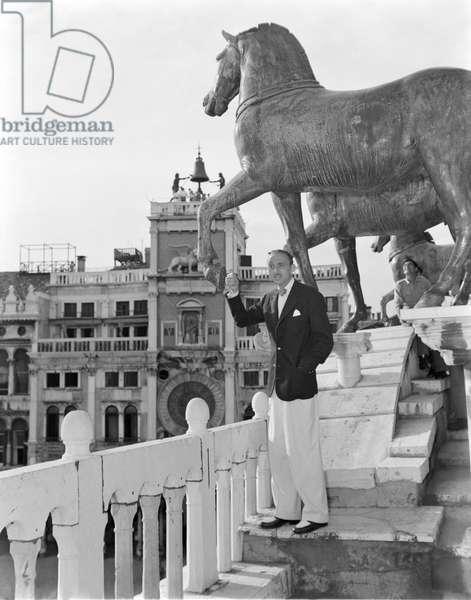THE ACTOR MISHA AUER (on the Basilica of Saint Mark near the horses) IN VENICE - 1949