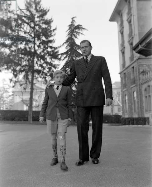 THE KING OF SPAIN JUAN (Juan de Borbon or Jean de Bourbon) WITH HIS SON JUAN CARLOS (Juan Carlos I) IN LAUSANNE. 1948