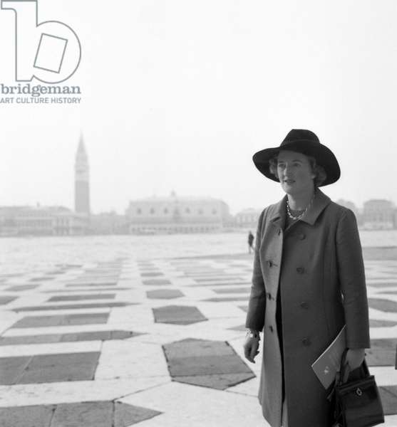 Portrait of VALERIA ELIOT, widow of American poet T. S. Eliot on the island of San Giorgio in Venice 1969