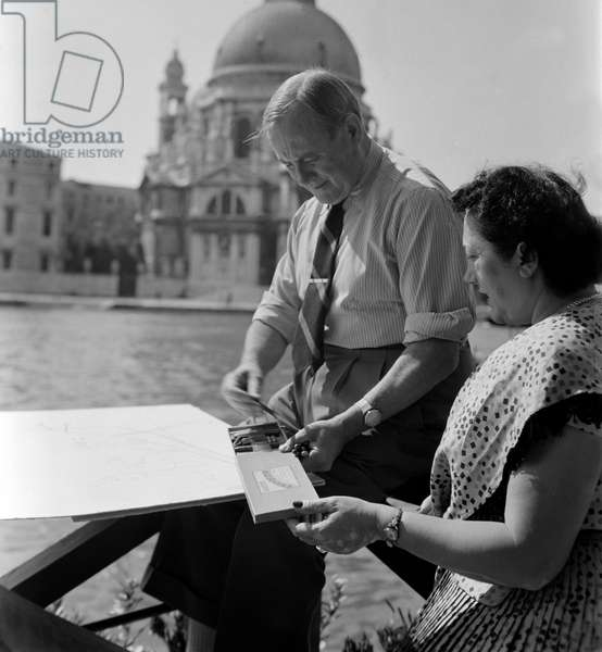 THE PAINTER AND SCULPTOR JOAN MIRO WITH HIS WIFE - VENICE - 1952