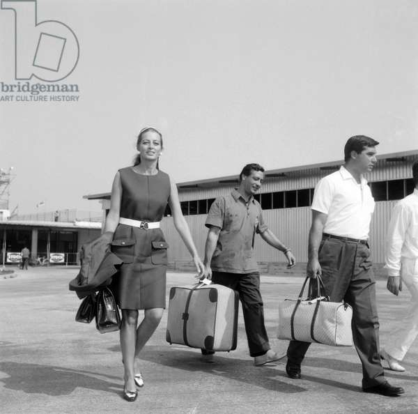 French actress CAPUCINE at Venice Airport 1969