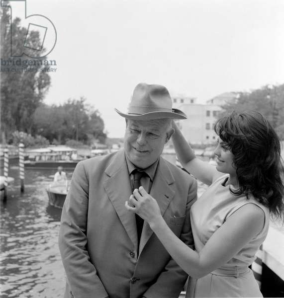 THE DIRECTOR JEAN RENOIR AND THE ACTRESS CATHERINE ROUVEL - 1959
