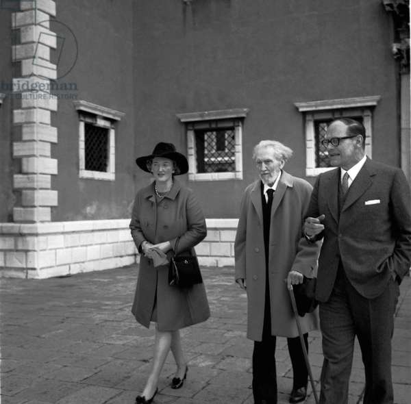 American writer and poet EZRA POUND, T.S widow Eliot Valerie, critic and linguist VITTORE BRANCA and his wife in Venice 1969
