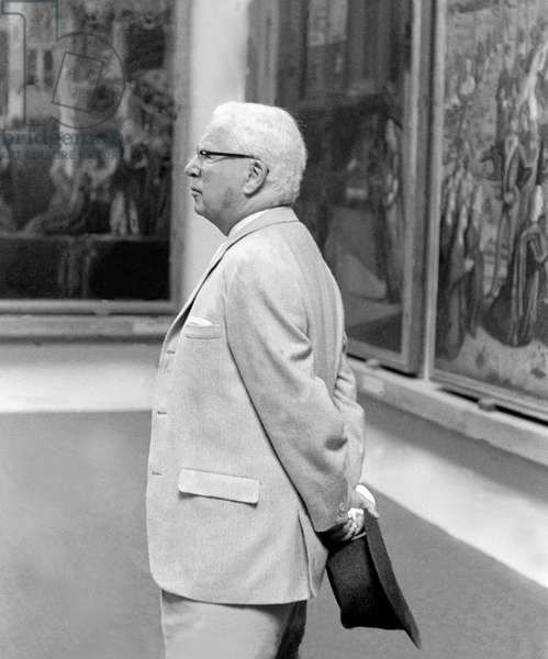 THE ACTOR AND DIRECTOR CHARLIE CHAPLIN AT ACCADEMIA MUSEUM - VENICE - 1959
