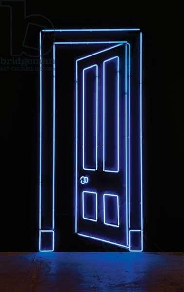 Port (Blue), 2012 (blue neon mounted on a black wall)