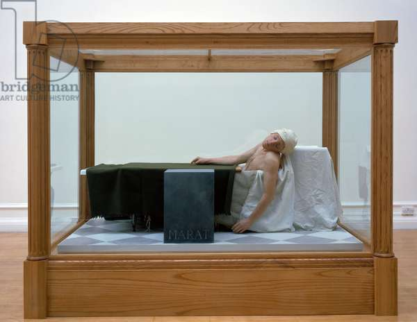 Death of Marat, 1998 (waxwork in wood & glass vitrine)