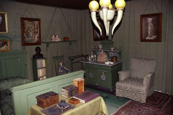 The Vittoriale degli italiani (Vittoriale des Italians) a Gardone Riviera (Italy). Gabriele d'Annunzio (1863-1938) lived in this house on the shore of Lake Garda between 1921 and 1938. Bedroom.