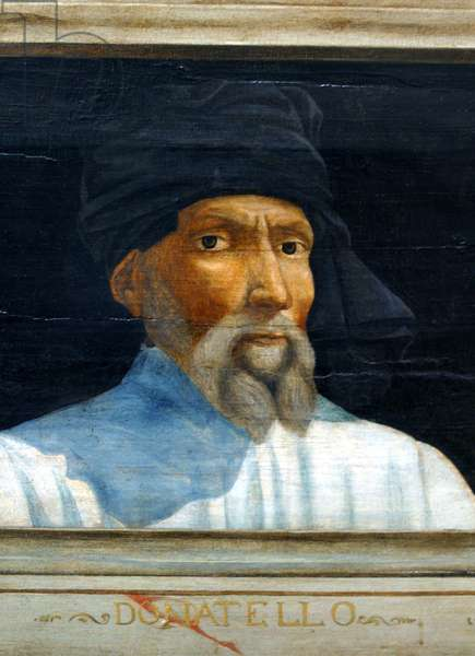 Cassone with 5 portraits of the Masters of the Florentine Renaissance (Giotto, Uccello, Donatello, Manetti, Brunelleschi): detail of the portrait of Donatello. Italian school of the 16th century. The inscription below is probably successive. Musee du Louvre, Paris.