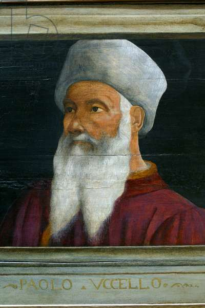 Cassone with 5 portraits of the Masters of the Florentine Renaissance (Giotto, Uccello, Donatello, Manetti, Brunelleschi): detail of the portrait of Paolo Uccello. Italian school of the 16th century. The inscription below is probably successive. Musee du Louvre, Paris.
