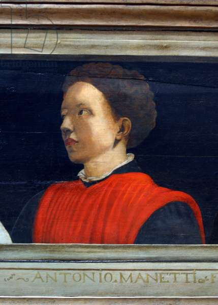 Cassone with 5 portraits of the Masters of the Florentine Renaissance (Giotto, Uccello, Donatello, Manetti, Brunelleschi): detail of the portrait of Antonio Manetti. Italian school of the 16th century. The inscription below is probably successive. Musee du Louvre, Paris.