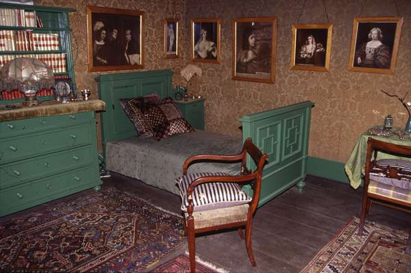 The Vittoriale degli italiani (Vittoriale des Italians) a Gardone Riviera (Italy). Gabriele d'Annunzio (1863-1938) lived in this house on the shore of Lake Garda between 1921 and 1938. Bedroom of D'Annunzio.