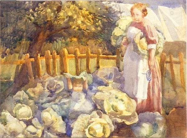 Vegetable Garden, Shere (w/c on paper)